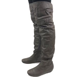 Over the knee gray faux leather boots